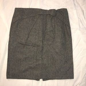 Gray pencil skirt with front bow detailing